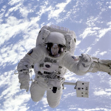 this is a picture of an astronaut doing a space walk