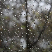 This is a picture of the view through a window on a rainy day