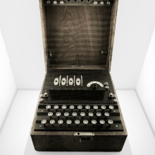 An enigma machine, used by German forces in the Second World War to send coded messages