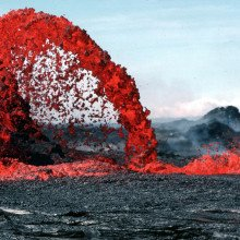 Lava from a volcanic eruption