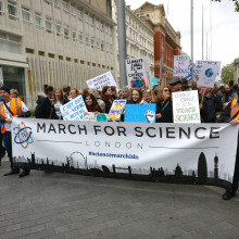 people supporting the March for Science march