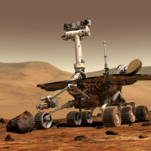 The picture shows an illustration of a rover on Mars.