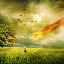 Meteorite crashing to earth