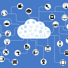 An infographic showing different smart devices, all connected to a cloud