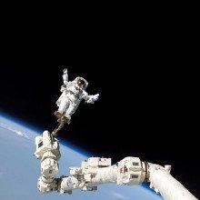 Astronaut on spacecraft