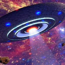Artists impression of an alien spacecraft resembling a flying saucer in space