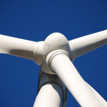 Close-up of the top of a wind turbine.
