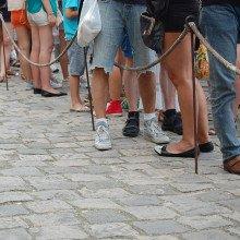 A queue of people.