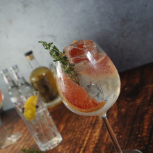 A gin and tonic with grapefruit.