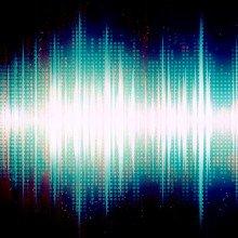 A glowing sound waveform.