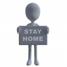 cartoon image of person holding a stay at home sign