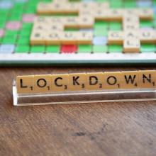 image of phrase lockdown in Scrabble tiles