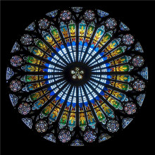 A stained glass rose window