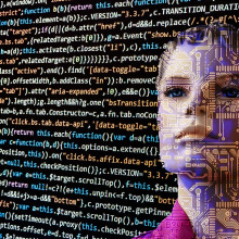 A robotic-looking woman's face behind a wall of computer code.
