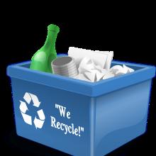 A cartoon of a recycling bin.