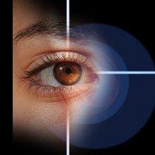 Crosshairs aiming at an eye