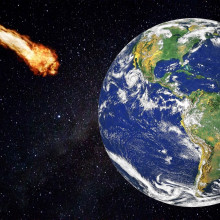 An asteroid shooting towards the Earth.