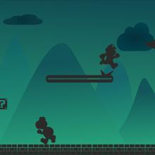 Super Mario in silhouette