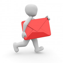 A CG image of a white figure carrying a large red envelope