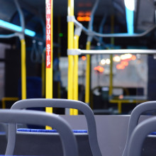 image of inside an empty bus