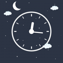 clock surrounded by clouds and moon