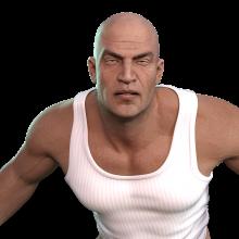 A man with a bald head