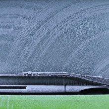 A frozen car windshield.
