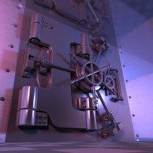 A bank vault door, bathed in a purple light