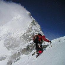 Someone climbing the Matterhorn.