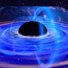 An artist's impression of a black hole accretion disk.