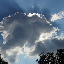 Crepuscular rays emerging from behind a cloud