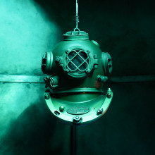 Old-fashioned diving helmet