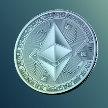 A coin with the Ethereum logo.