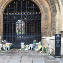 Flowers laid in memory of Stephen Hawking at Gonville and Caius College, Cambridge