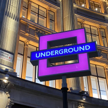 London Underground sign in the shape of a square.