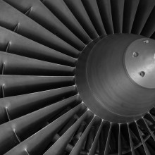 The fan on the front of a large jet engine