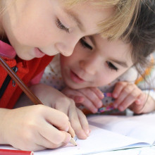 Children working at school