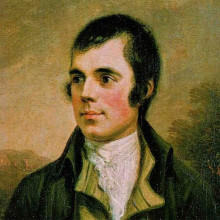 A portrait of the Scots poet Robert Burns.