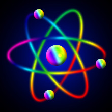 An atom graphic coloured with a rainbow gradient