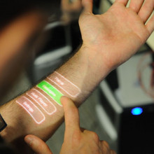 Digital screen on human forearm