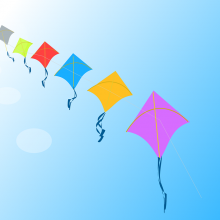 A line of kites in the sky