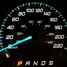 A car speedometer (odometer).