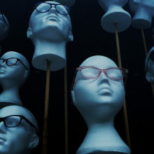 Styrofoam heads, wearing glasses