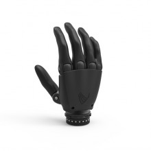 A black prosthetic hand against a white background