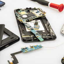 A dismantled smart phone