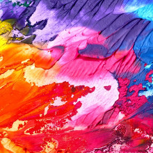 an abstract painting blending dozens of colours and paints together