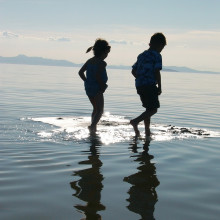 this is a picture of children walking through wet sand