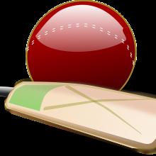 A cartoon of a cricket bat and cricket ball