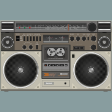 A old cassette playing boom-box
