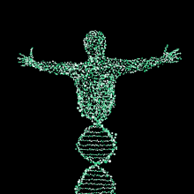 A figure rising out of a strand of DNA.